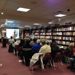During talk at the Harvard Coop